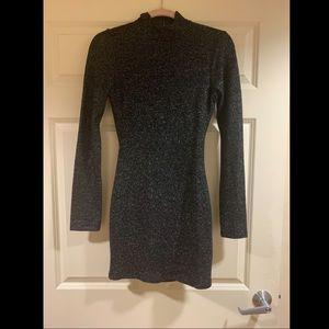 Black and silver body con  turtleneck mini dress